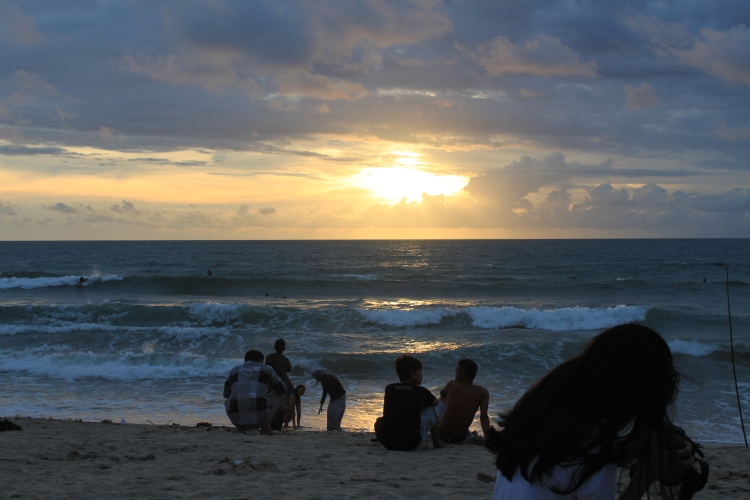 Le coucher de soleil sur Kuta Beach